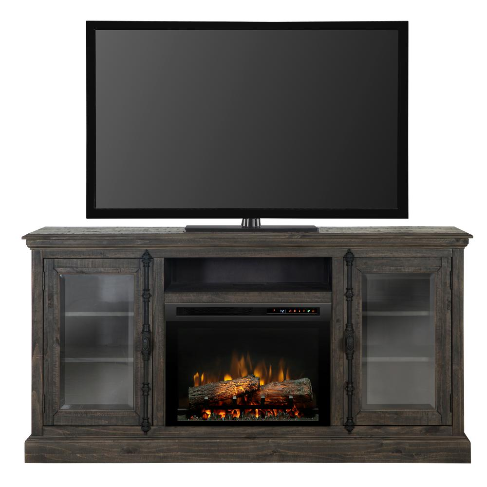 Modern technology meets old-world charm with the Ashton Media Console Electric Fireplace. Featuring a rustic design and antique Cremone bolts