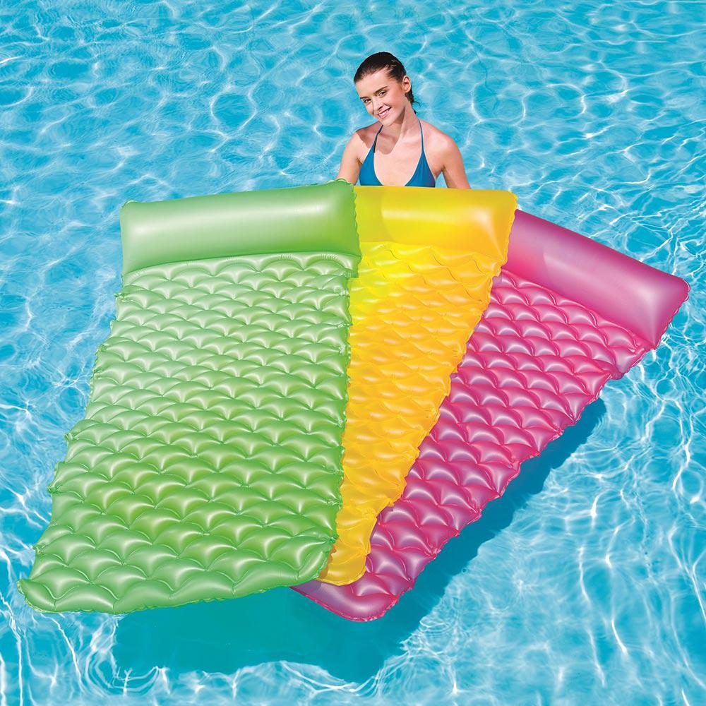 Bestway Float N Roll Green Yellow And Pink Air Mat Pool