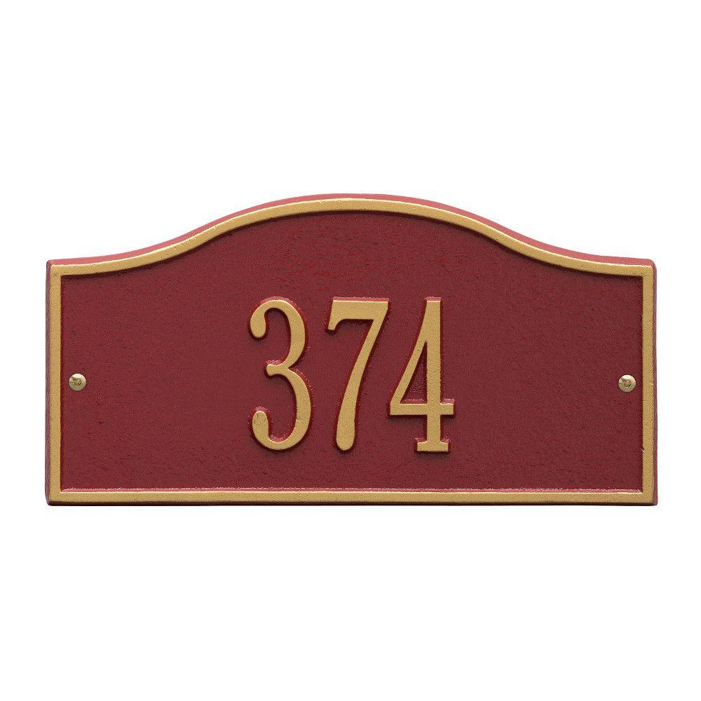 Whitehall Products Rolling Hills Rectangular Red/Gold Mini Wall 1-Line Address Plaque