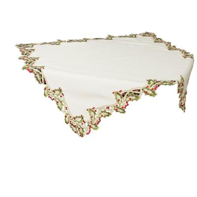 Xia Home Fashions 34 In X 34 In White Holiday Holly Embroidered Cutwork Table Topper Xd147913434w The Home Depot