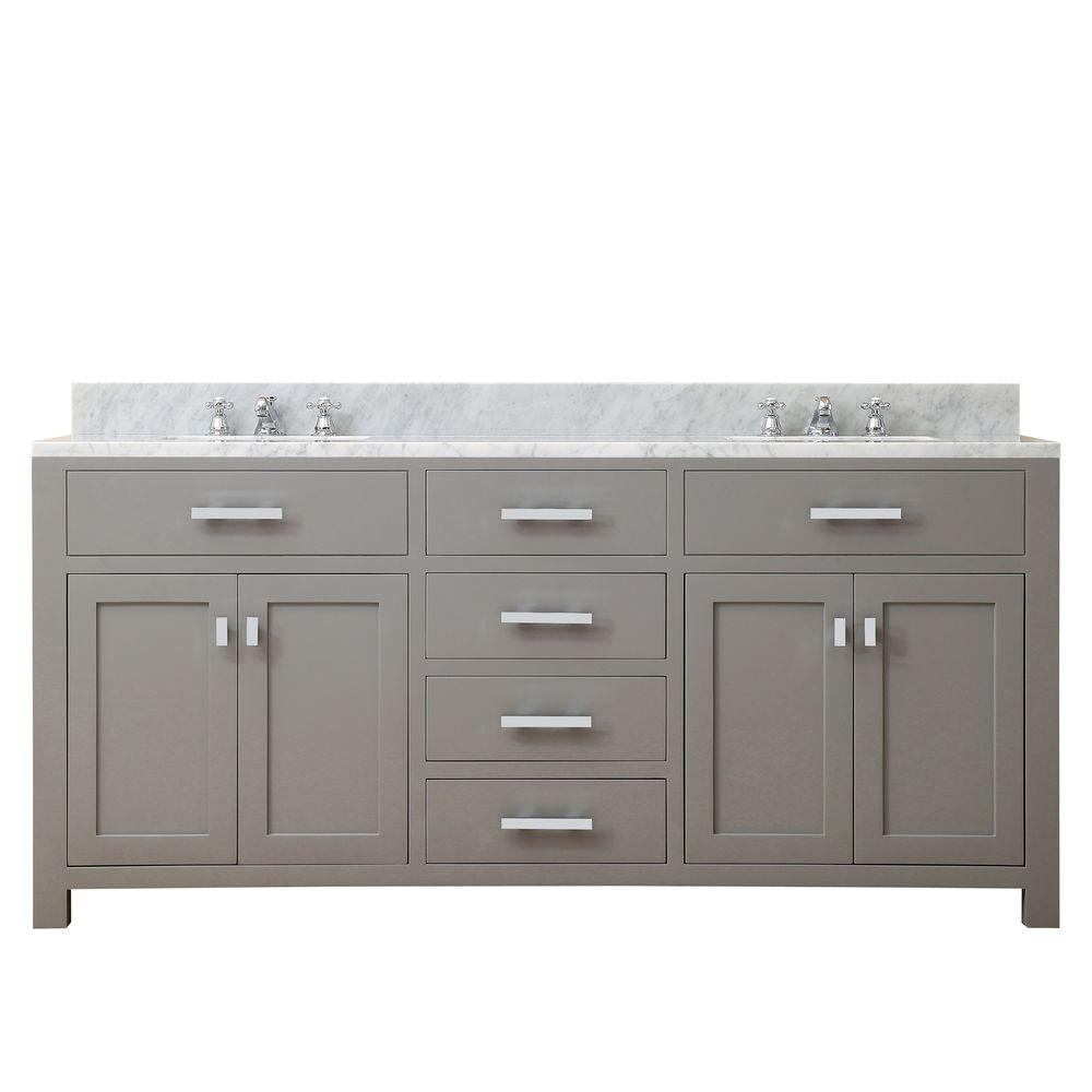 Pleasing Water Creation 72 In W X 21 In D X 34 In H Vanity In Cashmere Grey With Marble Vanity Top In Carrara White Download Free Architecture Designs Intelgarnamadebymaigaardcom