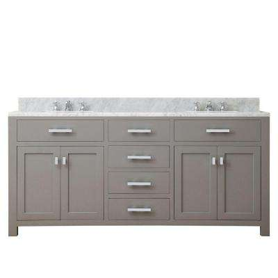 72 in. W x 21 in. D x 34 in. H Vanity in Cashmere Grey with Marble Vanity Top in Carrara White
