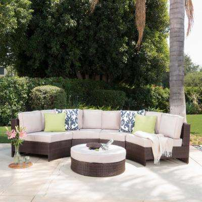 5-Piece Wicker Patio Sectional Seating Set with Textured Beige Cushions