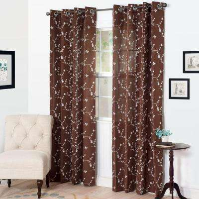 Semi-Opaque Inas Chocolate Polyester Grommet Curtain - 54 in. W x 108 in. L