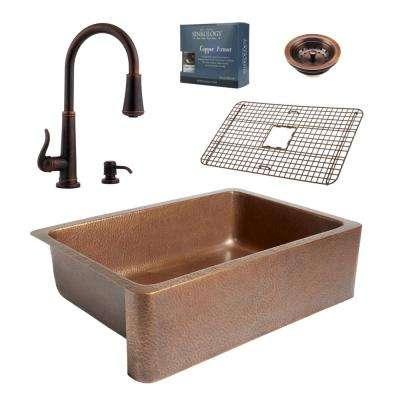 Pfister All-in-One 33 in. Copper Farmhouse Kitchen Sink Design Kit with Ashfield Pull Down Faucet