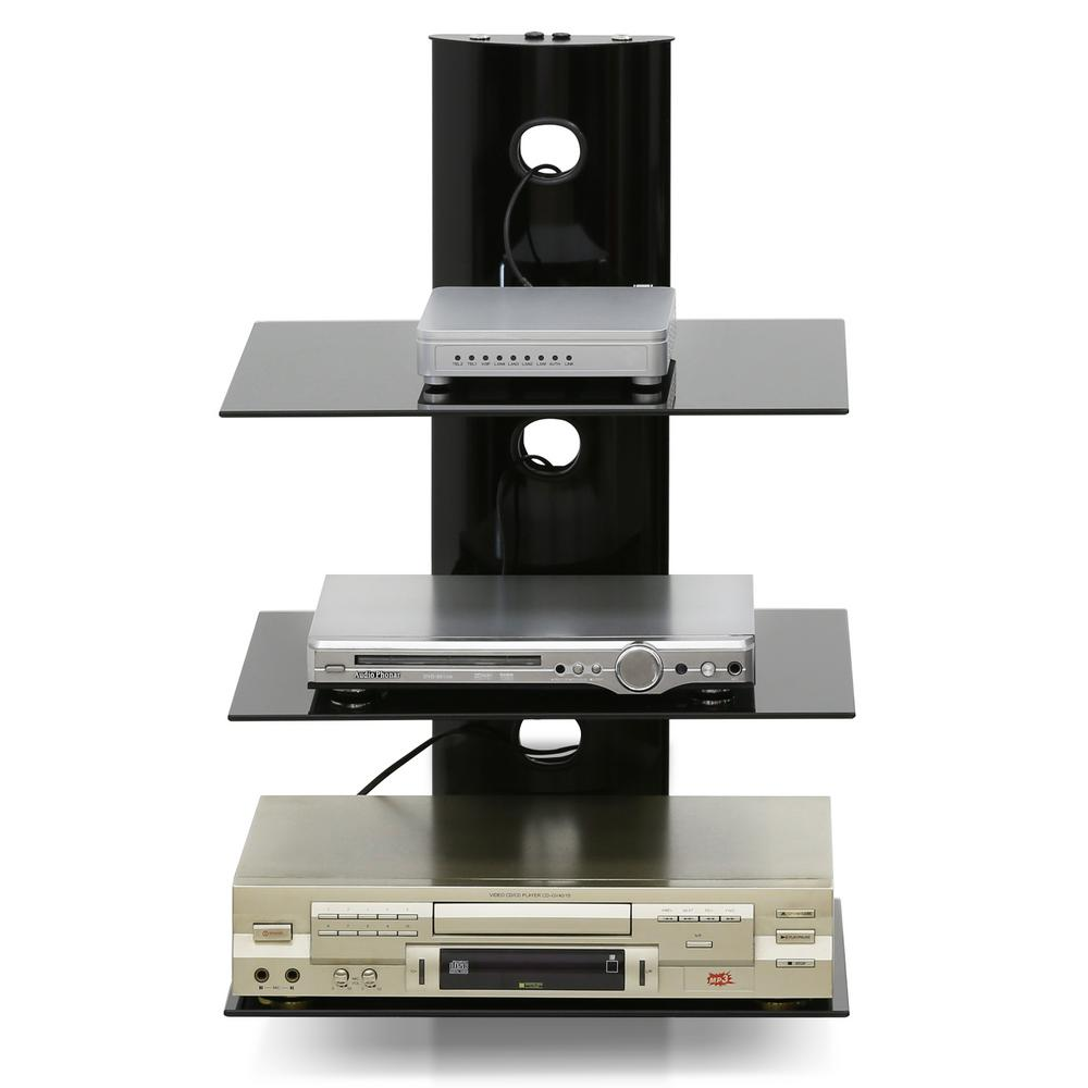 Modern 3-Tier Black Floating Wall Shelf for Media Accessories