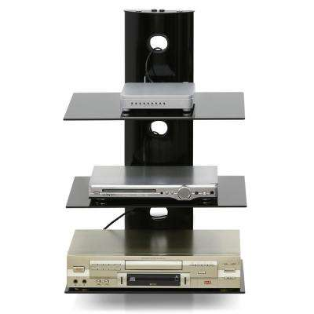 modern 3tier black floating wall shelf for media accessories