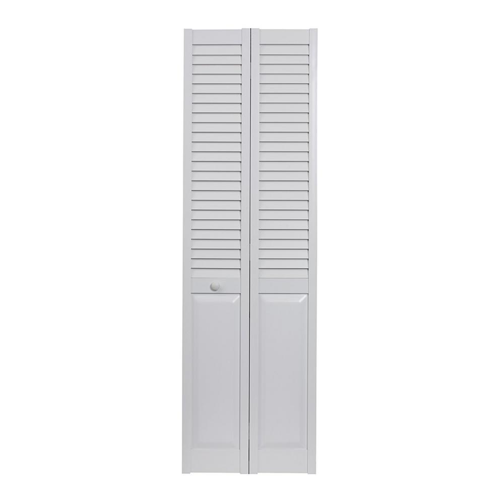 36 in. x 80 in. Seabrooke Louver Over Panel White Hollow Core PVC Vinyl Interior Bi-Fold Door