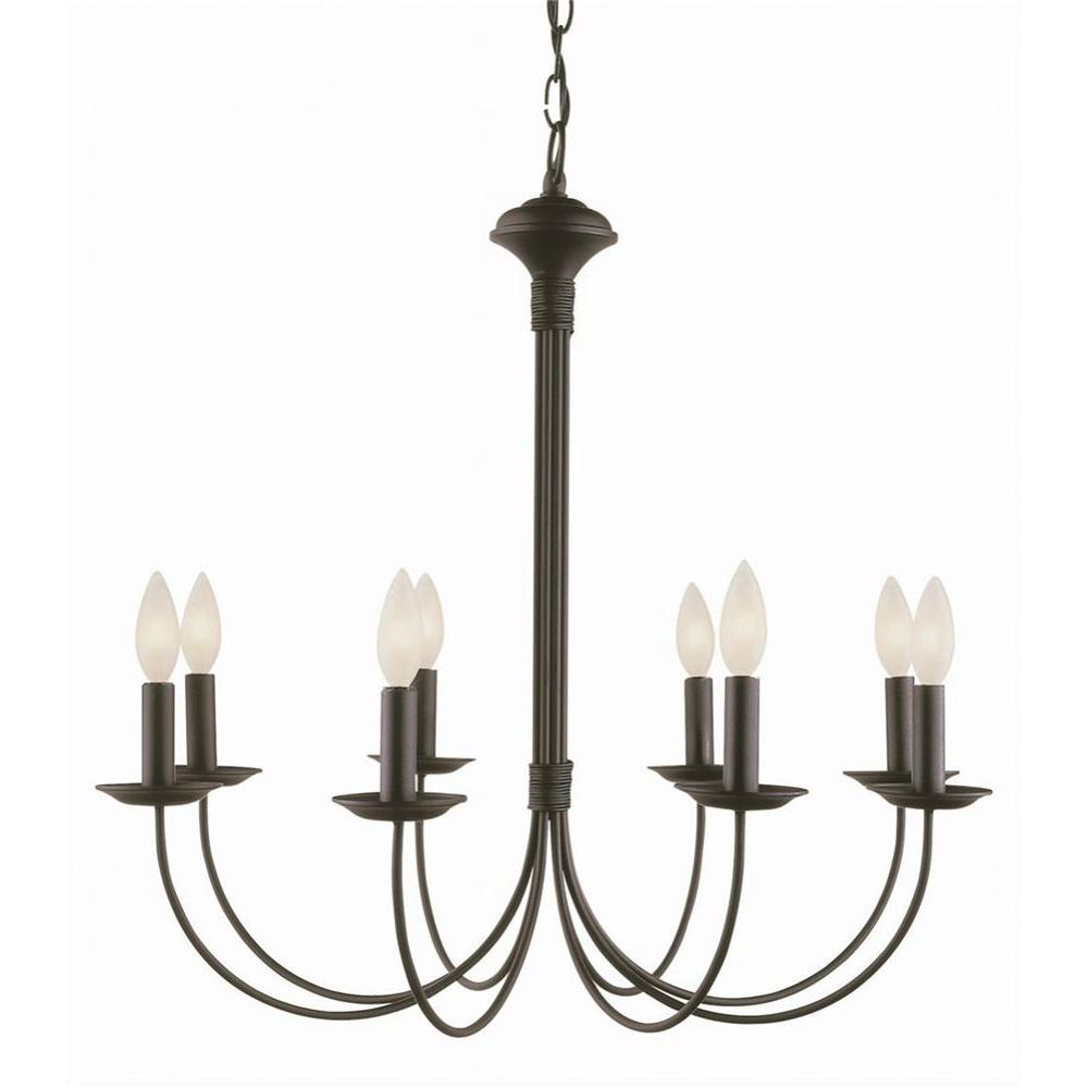 Stewart 8-Light Rubbed Oil Bronze Incandescent Ceiling Chandelier