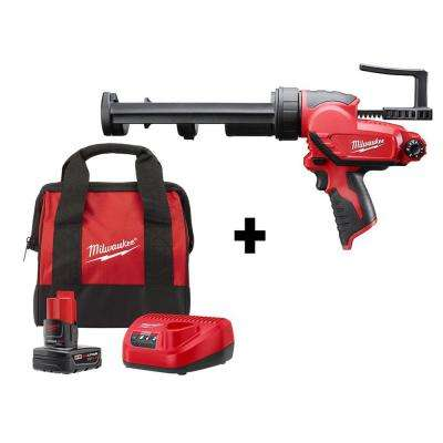 M12 12-Volt Lithium-Ion Cordless 10 oz. Caulk and Adhesive Gun Kit with One 4.0 Ah Battery, Charger and Bag
