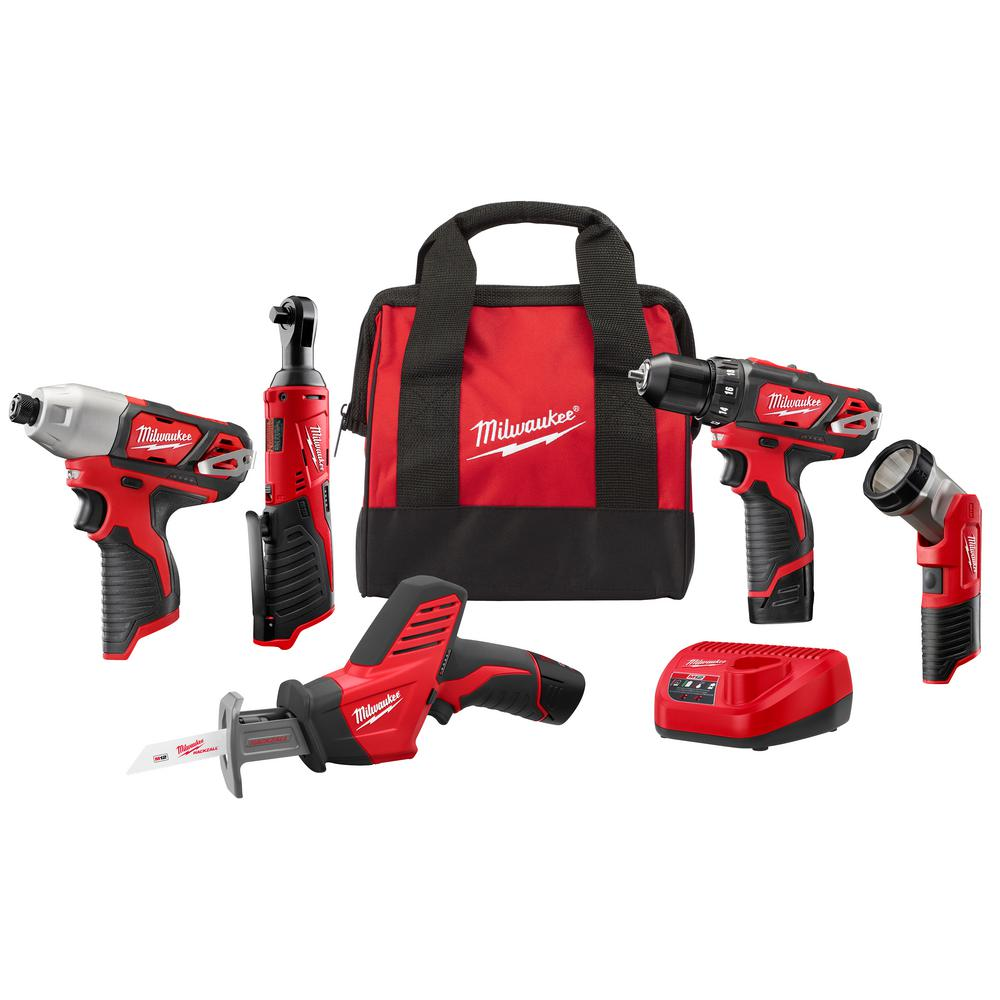 Milwaukee M12 12-Volt Lithium-Ion Cordless Combo Kit (5-Tool) with Two 1.5Ah Batteries, Charger & Tool Bag