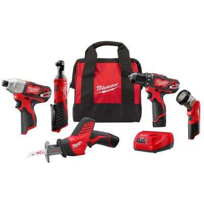 M12 12-Volt Lithium-Ion Cordless Combo Kit (5-Tool) with Two1.5Ah Batteries, Charger and Tool Bag