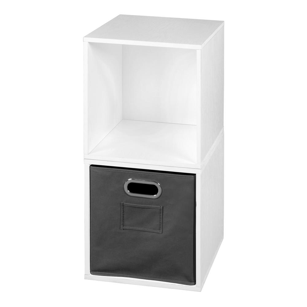 Cubo 26 in. H x 13 in. W White Wood Grain/Grey