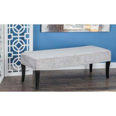 53 in. x 18 in. Contemporary Gray Wood and Fabric Bench