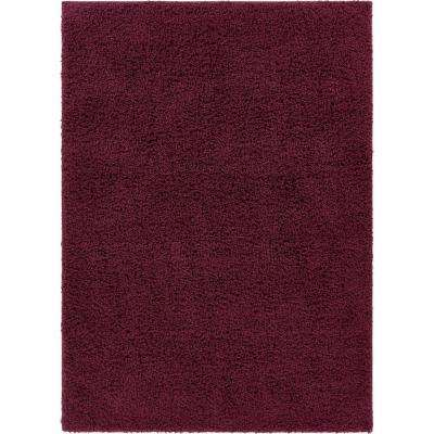 Tacoma Enchanting Modern Solid Plum 6 in. 7 in. x 9 ft. 3 in. Area Rug