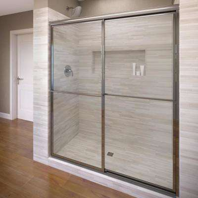 Delxue 59 in. x 71-1/2 in. Framed Sliding Shower Door in Silver with Handle