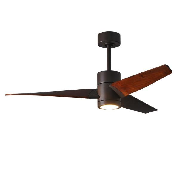 Super Janet 52 in. LED Indoor/Outdoor Damp Textured Bronze Ceiling Fan with Light with Remote Control, Wall Control