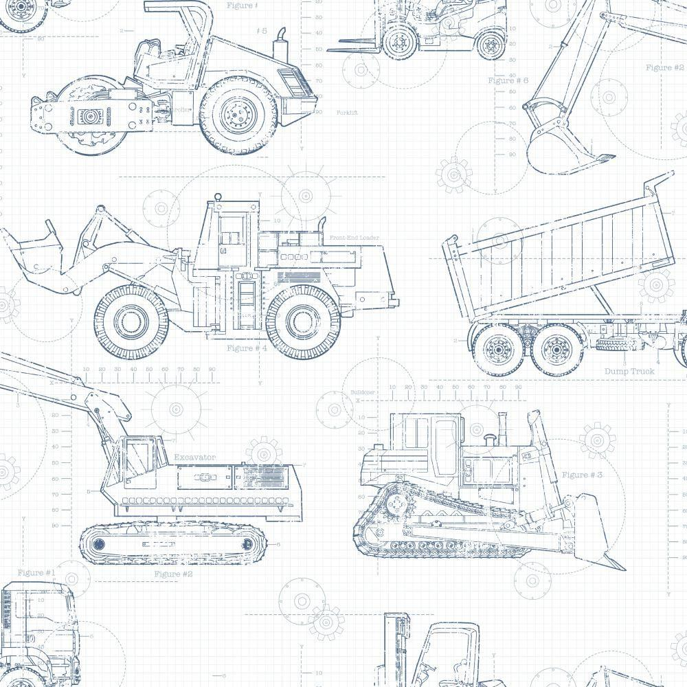 york wallcoverings cool kids construction blueprint