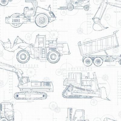 Cool Kids Construction Blueprint Wallpaper