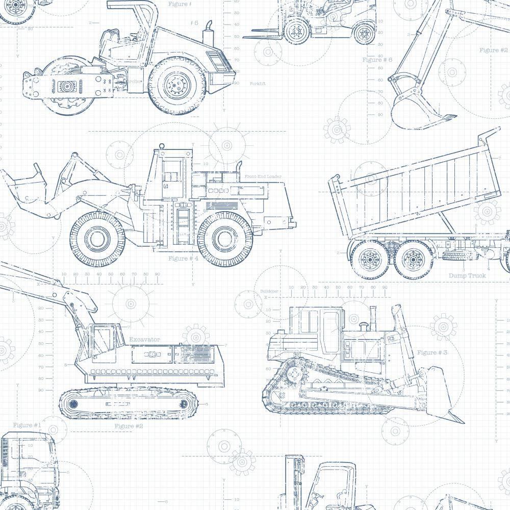 Cool Kids Construction Blueprint Wallpaper