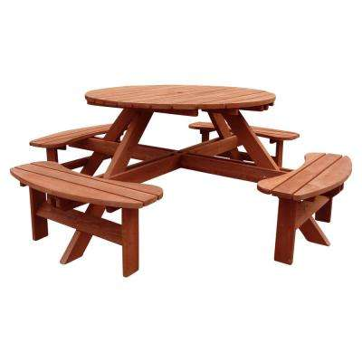 Sensational Round 82 In W X 82 In D X 30 In H Wooden Brown Picnic Table Home Interior And Landscaping Fragforummapetitesourisinfo