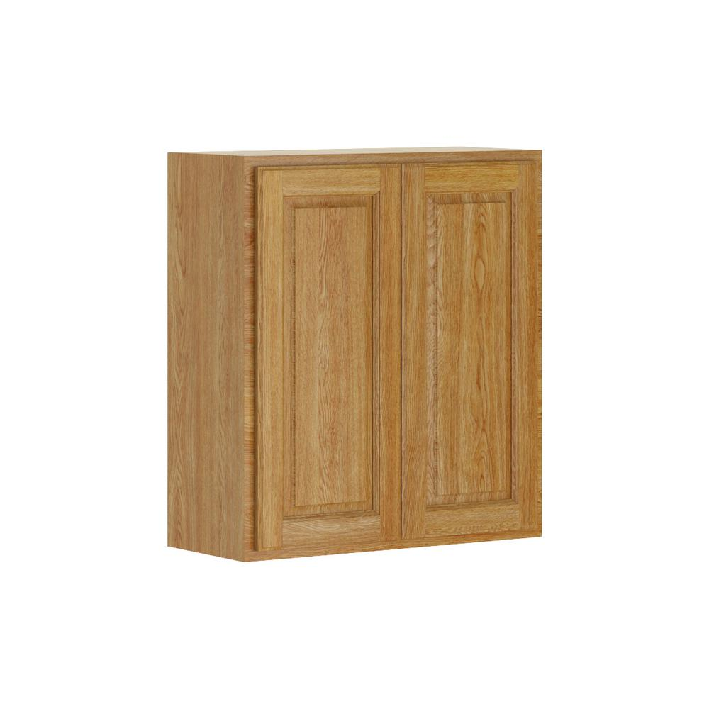 Madison Base Cabinets In Medium Oak: Hampton Bay Madison Assembled 27x30x12 In. Wall Cabinet In