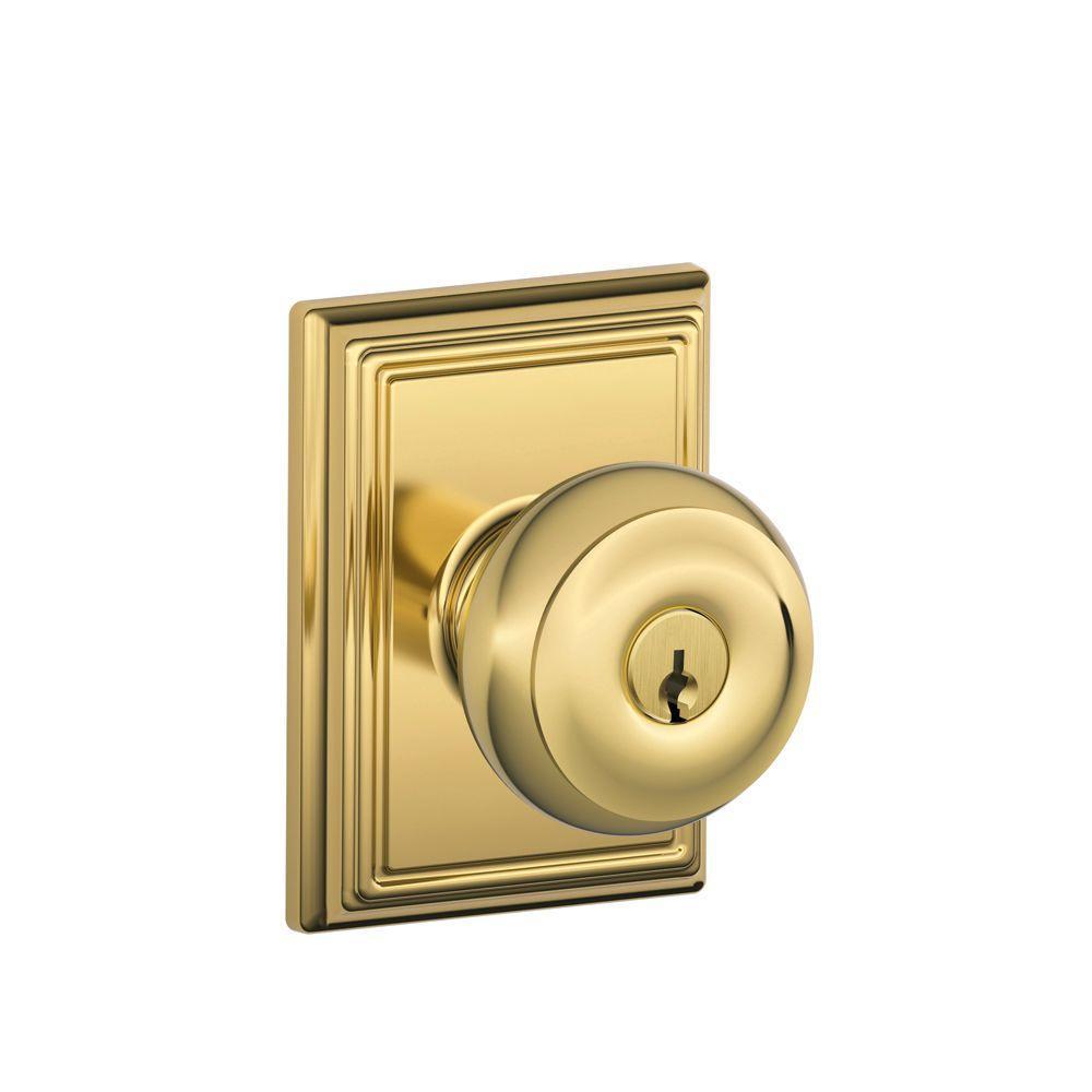 Addison Collection Bright Brass Georgian Keyed Entry Knob