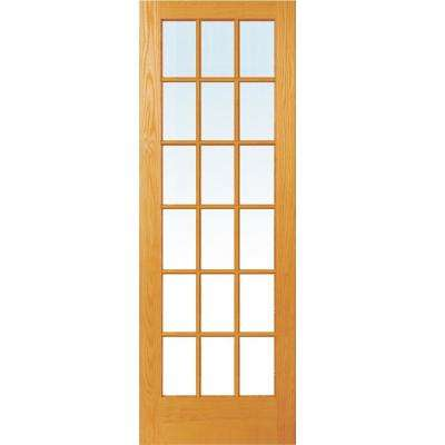 32 in. x 96 in. Unfinished Pine Wood 18 Lite True Divided Clear Glass Interior Door Slab
