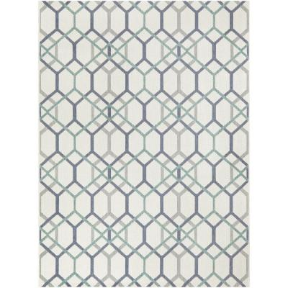 Geometric Links Cream 8 ft. x 10 ft. Indoor/Outdoor Area Rug