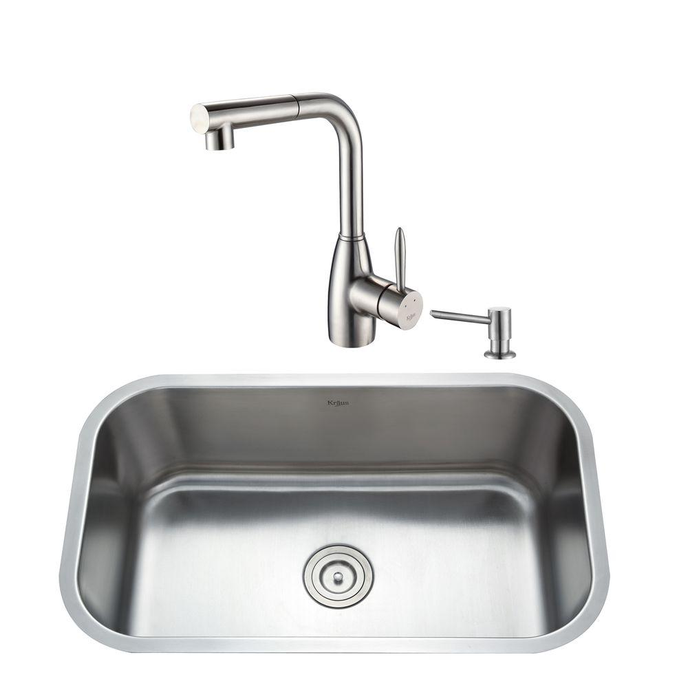 KRAUS All-in-One Undermount Stainless Steel 31.50x18.38x10 in. 0-Hole Single Bowl Kitchen Sink with Kitchen Faucet