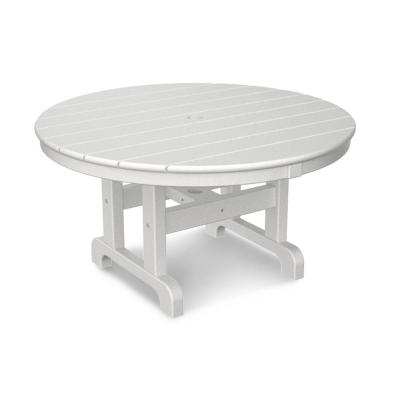 White 36 in. Round Outdoor Patio Coffee Table