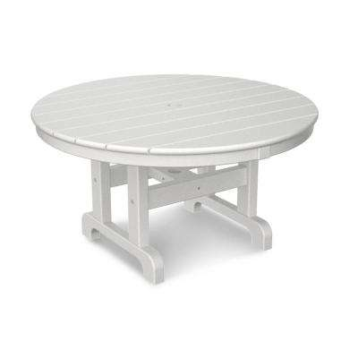 Round outdoor coffee table Bronze White 36 In Round Outdoor Patio Coffee Table Polywood White The Home Depot Round Outdoor Coffee Tables Patio Tables The Home Depot
