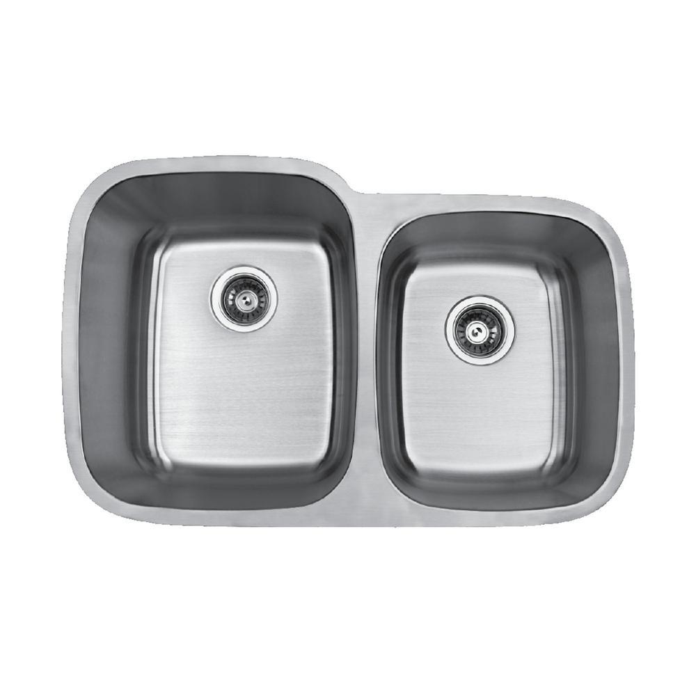 Karran Builder's Choice 32 in. Stainless Steel Undermount Double Bowl 60/40 Kitchen Sink