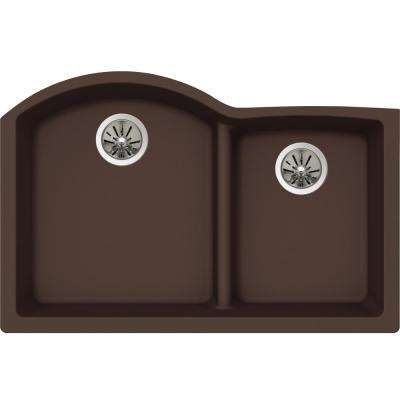 Quartz Luxe Undermount Composite 33 in. Rounded Offset Double Bowl Kitchen Sink in Chestnut