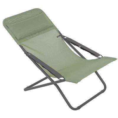 Transabed In Moss Green Metal Reclining Lawn Chair