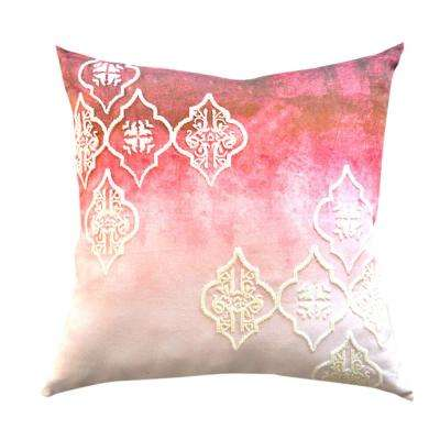 A1HC Beaded Ogee Red Design Ombre Designer 20 in. Decorative Pillow