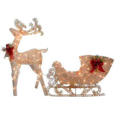 48 in. Reindeer and Santas Sleigh with LED Lights