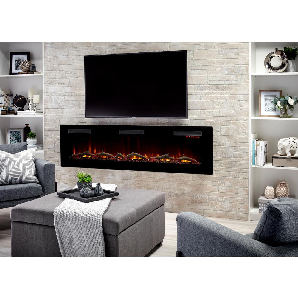Sierra 72 in. Wall/Built-in Linear Electric Fireplace in Black