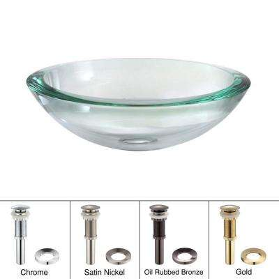 Edge Glass Vessel Sink in Clear with Pop-Up Drain and Mounting Ring in Satin Nickel