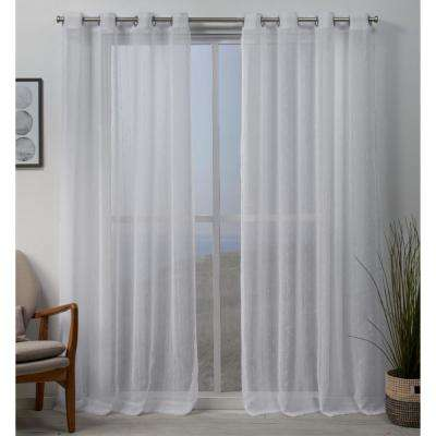 Whitaker 54 in. W x 96 in. L Vertical Teardrop Slub Embellished Grommet Top Curtain Panel in White (2-Panel)