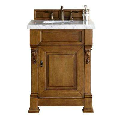 Brookfield 26 in. W Single Vanity in Country Oak with Marble Vanity Top in Carrara White with White Basin