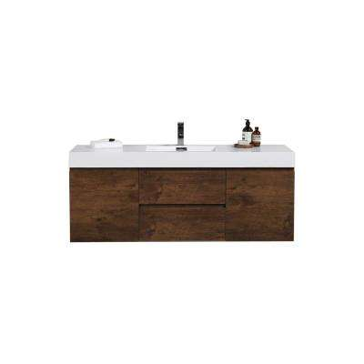 Fortune 60 in. W Bath Vanity in Rosewood with Reinforced Acrylic Vanity Top in White with White Basin