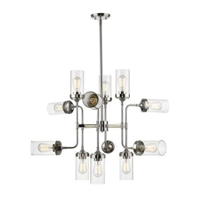 Lopia 12-Light Polished Nickel Pendant with Clear Glass Shade