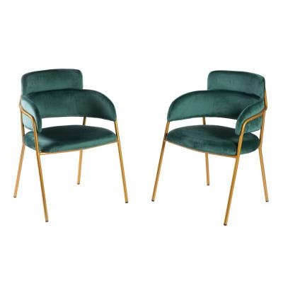 Modern Green Velvet Fabric Upholstered Accent Arm Chair with Gold Metal Legs (Set of 2)