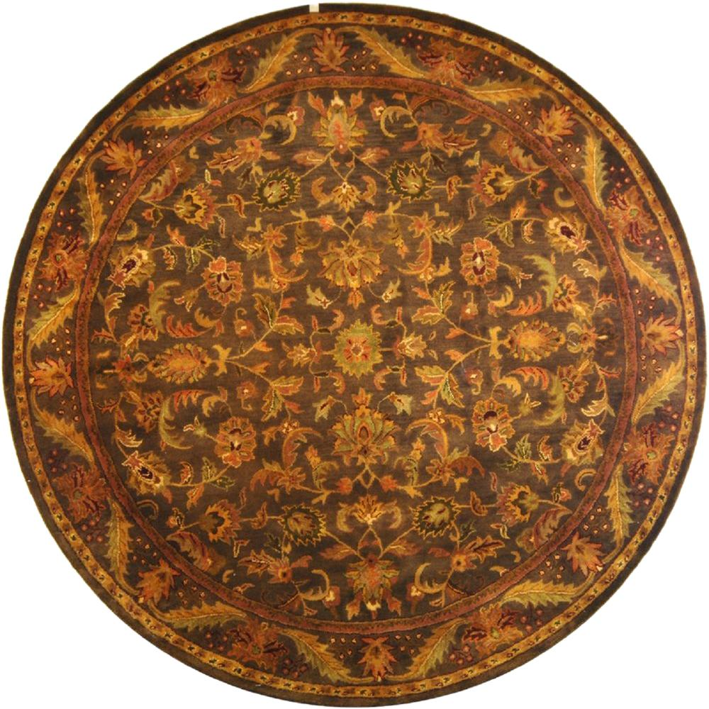 safavieh antiquity charcoal 8 ft x 8 ft round area rug at52k 8r the home depot. Black Bedroom Furniture Sets. Home Design Ideas