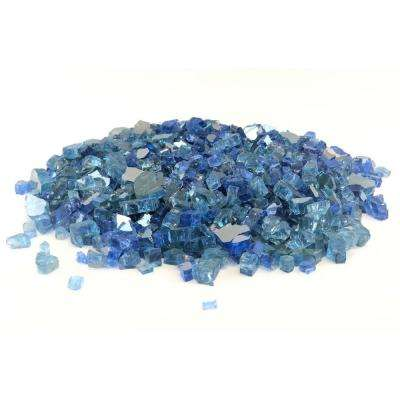 0.125 cu. ft., 1/4 in. Caribbean Sky Blue Reflective Fire Glass 10 lbs.