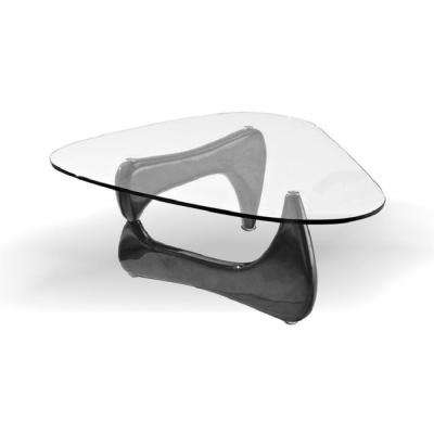 Noguchi Style Coffee Table Black Color With Clear Glass Top