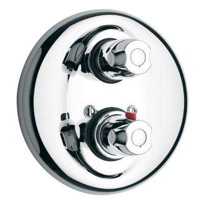 2-Handle Thermostatic Valve Trim Kit with Volume Control in Chrome (Valve Not Included)