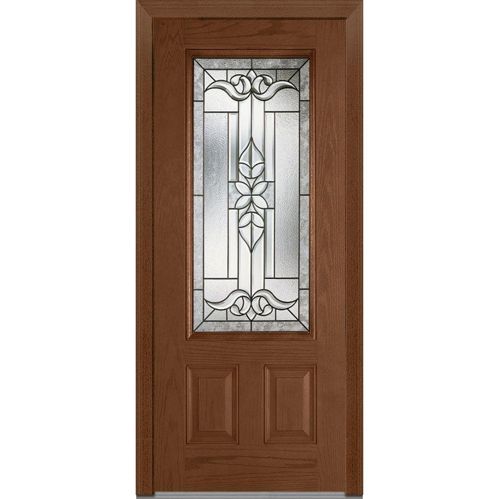 Fiberglass Entry Doors 3 4 Glass With Grilles : Mmi door in cadence decorative glass