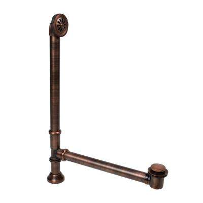1-1/2 in. O.D. Adjustable Solid Brass Soft Touch Pop-Up Bathtub Drain with Overflow Kit in Antique Copper